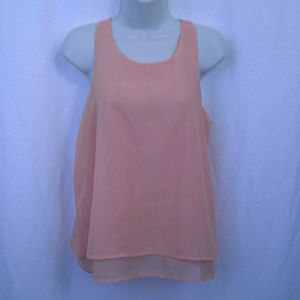 Tic Toc top S Orange Sleeveless Tank cami Tiered